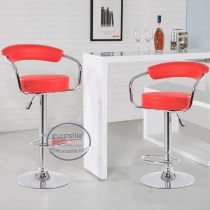 Height Adjustable Leather Bar Stool (5009-RED)2PC