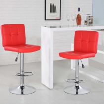 Square Bar Stool with Chrome Footrest (5069-RD)