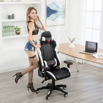 Ergonomic Leather Racing Gaming Chair (7219-WH)