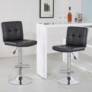 Square Bar Stool with Chrome Footrest (5069-BK)