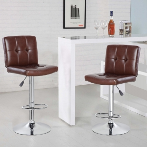Square Bar Stool with Chrome Footrest (5069-BR)