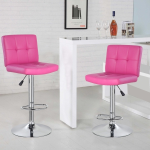 Square Bar Stool with Chrome Footrest (5069-PK)