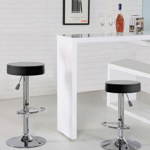 Round Bar Stool with Chrome Footrest (5079-BK)