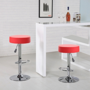 Round Bar Stool with Chrome Footrest (5079-RD)