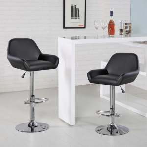 Faux Leather Modern Counter Stools (5080-BK)