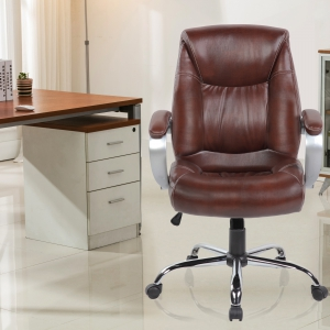 Faux Leather Office Chairs (9127-BR)