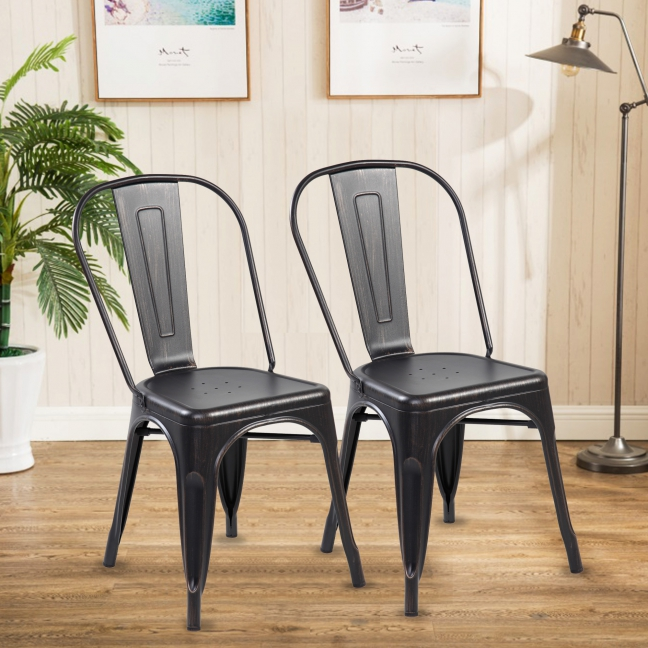 High Back Metal Dining Chair 2pc/4pc (3004-ABB)