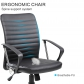 Mid Back Ribbed PU Desk Chair (8182-BK)